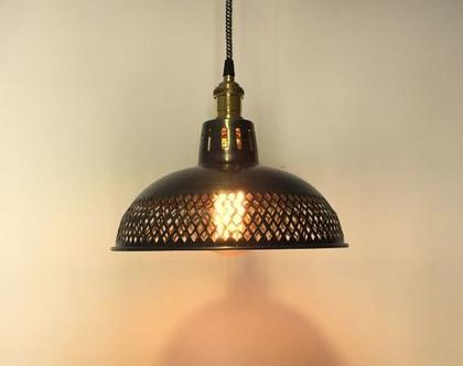 מנורה תלויה אהיל מתכתי בסגנון וינטאג (מס44)