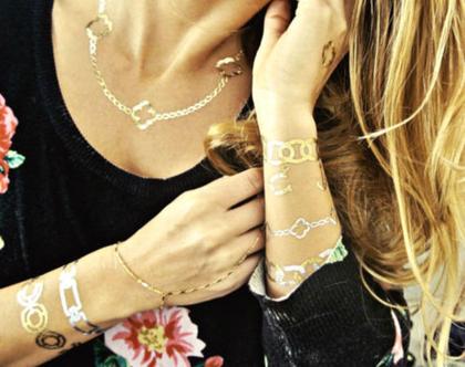 קעקועי זהב וכסף לגוף | תכשיט גוף | צמידי קעקוע