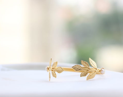 צמיד לכלה, צמיד לחתונה, צמיד עלים, תכשיטים לכלות, צמיד זרוע, תכשיטים לחתונה, אקססוריז לכלה