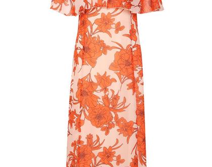 שמלת מקסי / שמלת ריזורט/ שמלה פרחונית / שמלה עם שרוול