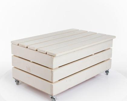 ארגז /ספסל אחסון מעץ