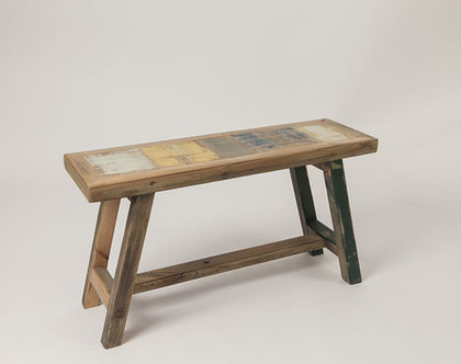 ספסל זוגי דגם פלורנטין ספסל עץ ממוחזר ספסל פינת אוכל ספסל מטבח ספסל עץ מלא