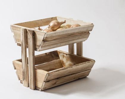 סלסלה לפרות /ירקות מעץ ממוחזר/מעמד לעיתונים /