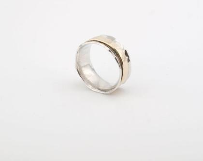 טבעת כסף בשילוב זהב 14k | עיצוב אישי | טבעת כסף 925 | זהב 14k | טבעת כסף וזהב | טבעת אלגנטית | עבודת יד | טבעת מעוצבת