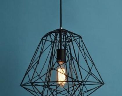 מנורה תלויה כלוב שחור יהלום (מס 48)