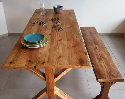 שולחן אבירים / שולחן עץ / שולחן לגינה / שולחן עץ מלא/ שולחן פינת אוכל /