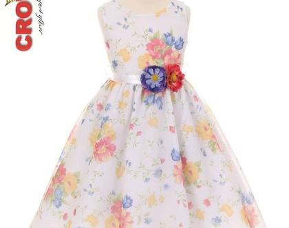 USשמלה פרחונית צהוב אדום כחול