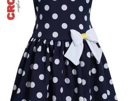 בוני שמלה כחול לבן נקודות פפיון בצד
