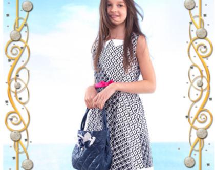 פולי שמלת כחול לבן