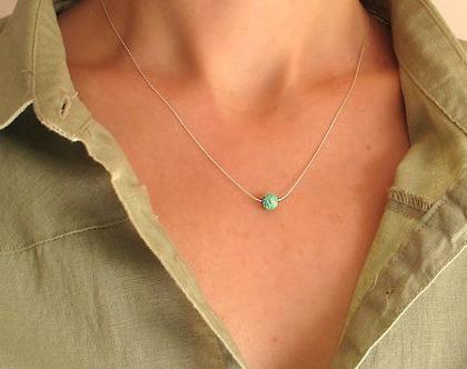 שרשרת אופל - שרשרת כסף עם אבן טורכיז - שרשרת תכלת לאישה - שרשרת עדינה - מתנה לבת זוג