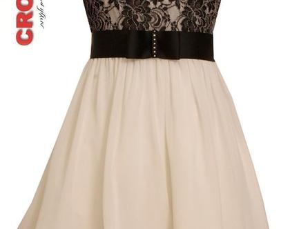 בוני שמלה שחור תחרה לבן אירועים