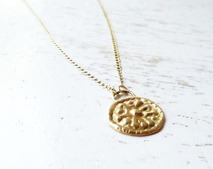 תליון מטבע זהב על שרשרת עבה בזהב 14 קראט