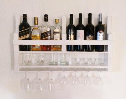 בר אלכוהול מעוצב ממשטח- דגם״ רפאל סלים״ ממוחזר לבן ווש
