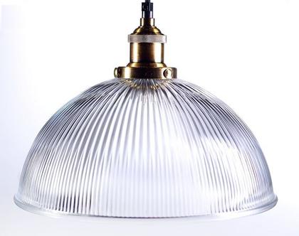 מנורת זכוכית כיפה פסים בשילוב ברונזה 800