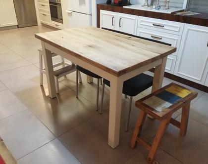 שולחן כפרי לפינת אוכל אולם למטבח /שולחן מעץ אלון. גודל 70 *120/שולחן מעץ ממוחזר