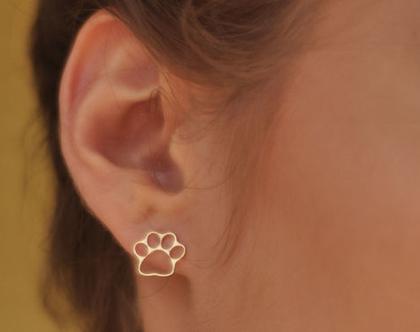 עגילי כלב, עגילי חתול, עגילי paw, עגילי חיות, עגילי טביעת רגל, מתנה לאוהבי חיות, מתנה לחברה, מתנה לילדה, מתנה לנערה, עגילי זהב צמודי אוזן