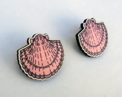 עגילי צדפות מאוירים- עגילים צמודים - עגילים מיוחדים