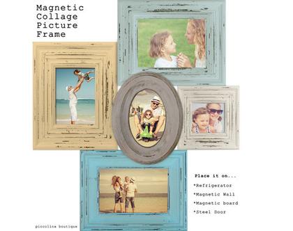 קולאז' מסגרות מעוצבות ממגנט לעיצוב הבית - מסגרת לתמונות דגם כחול צהוב.