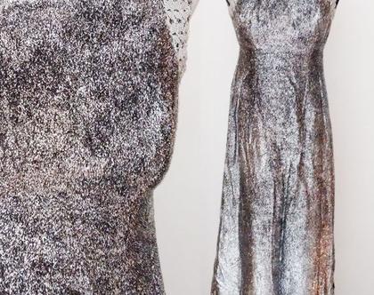 שמלת מקסי לורקס כסף סיקסטיז 20% הנחה | שמלה אלגנטית בצבע כסף וינטג' | שמלות מעוצבות לערב