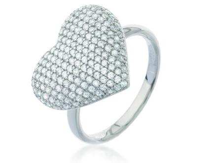 טבעת תליון לב משובצת | טבעת כסף משובצת זרקונים | טבעת לב כסף | טבעת לב משובצת | טבעת אירוסין | טבעת לב כסף