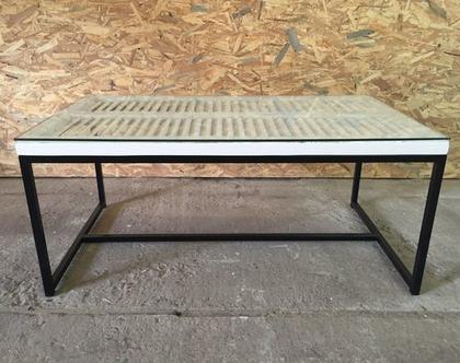 שולחן סלון קפה תריס לבן עם זכוכית (4)