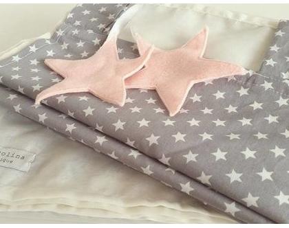 וילון מעוצב לחדר ילדים - וילון אפור כוכבים עם כוכבים / לבבות מלבד
