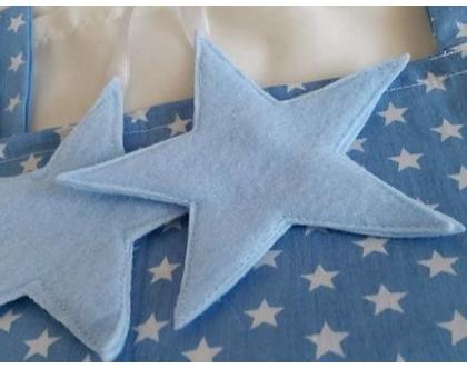 וילון מעוצב לחדר ילדים - וילון כחול כוכבים עם כוכבים / לבבות מלבד
