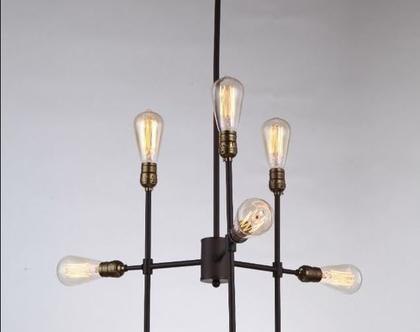 גוף תאורה תלוי 9 ראשים בסגנון וינטאג תעשייתי ( מס 57 )