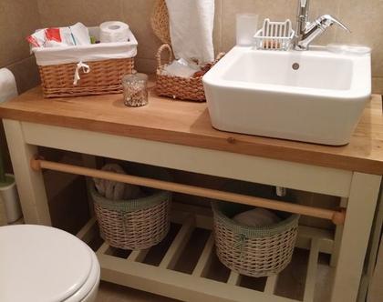 ארון לחדר אמבטיה/ארון לחדר רחצה/ארון מעץ ממוחזר/ארון לכיור מעץ ממוחזר /ארון לאמבטיה דגם הרצליה