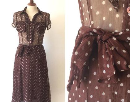 ❤️ נמכרה ❤️שמלה חומה עם נקודות לבנות | שמלה חומה | שמלת מידי | שמלה קלאסית | שמלה לאישה