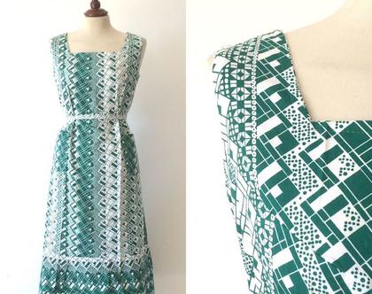 שמלת וינטג' | שמלה לבנה וירוקה | שמלה נשית | שמלה לקיץ | שמלה לנשים | שמלה מיוחדת