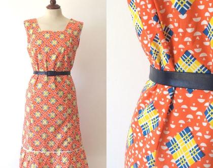 שמלת וינטג׳ | שמלה משנות ה-70 | שמלה מיוחדת | שמלה לנשים | שמלה כתומה | שמלה קיצית |שמלה מידה m-l