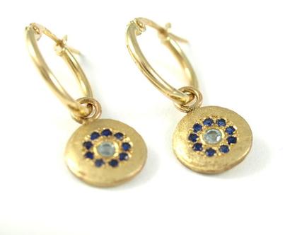 עגילי זהב משובצים | עגיל זהב 14 קרט | ספירים | אורה דן תכשיטים | עיצוב תכשיטים בתל אביב | תליוני זהב | מתנה לאישה | עגילים משובצים באבני חן