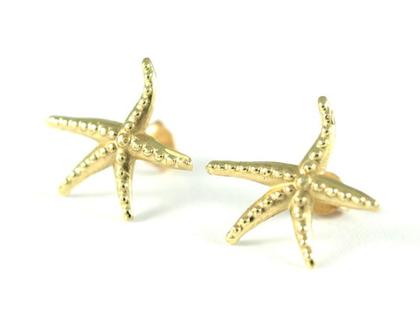 עגילי זהב צמודים | עגילי כוכב ים | עגילים מעוצבים | תכשיטי מעצבים | אורה דן תכשיטים | מעצבת טבעות נישואין | עיצוב תכשיטים בתל אביב