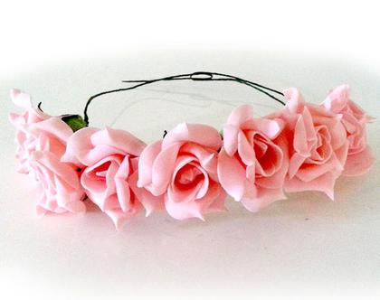 זר לראש | משי | זר פרחים | עיטור ראש | כתר | חגיגה | יום הולדת| חתונה | רווקות | קישוט | ורדים | כתום אפרסק | צילומי בוק | פרום | מלאכותי