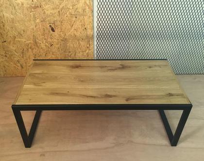 שולחן סלון משטח עליון עץ אלון ומתכת (1)