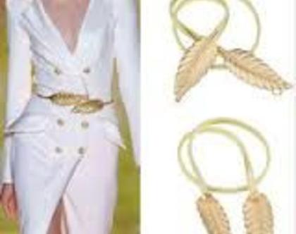 חגורת מותן אלסטית זהב עם אלמנט עלים מעוצבים