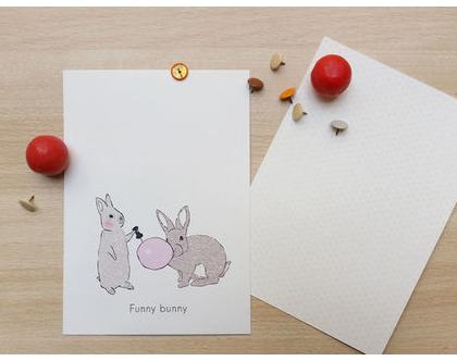 """גלויה - """"Funny bunny""""   גלויה למסגור   עיצוב הבית"""