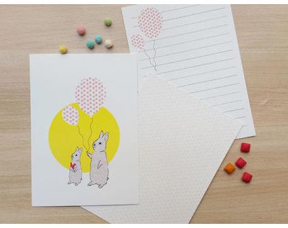 """גלויה - """"ארנבים ובלונים צבעוניים""""   גלויה למסגור   עיצוב הבית"""