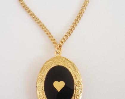 שרשרת תליון נפתח לתמונה - לוקט לב זהב - מתנה לאשה