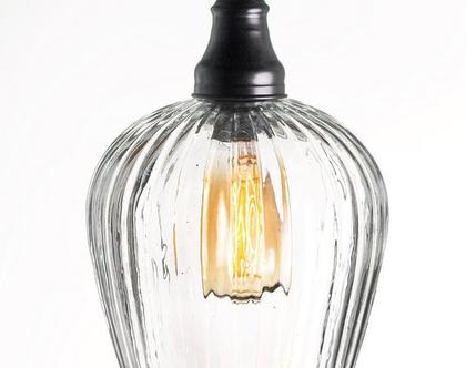 מנורה תלויה זכוכית פסים