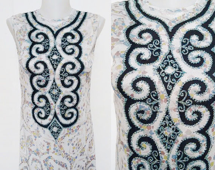 שמלה אתנית סיקסטיז לורקס כסף | 50% הנחה שמלות וינטג' בוהו שיק לאירוע | שמלות מיוחדות | שמלה משנות ה60' | שמלה מעוצבת | שמלה נוצצת