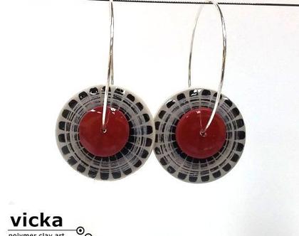 עגילי חישוק מיוחדיםI עגילים בשחור לבן אדום I עגיל מעוצב