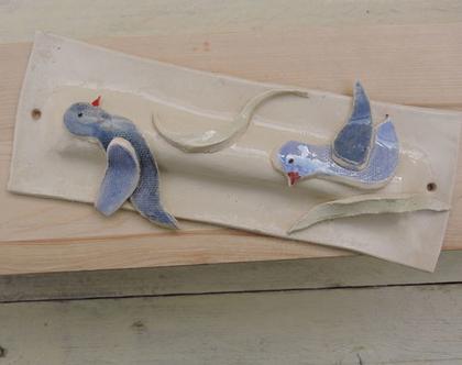 מזוזת קרמיקה בדגם יונים- מזוזה לעיצוב הבית