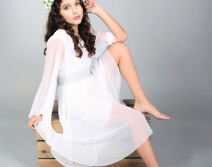 שמלת עטלף שיפון לבת מצווה בעיצוב שירן סבוראי