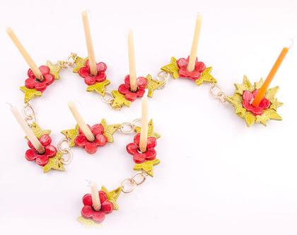 חנוכיה | חנוכיה בעבודת יד | חנוכיה מקורית | חנוכיית שרשרת מקרמיקה |חנוכיית שרשרת | חנוכיית פרחים