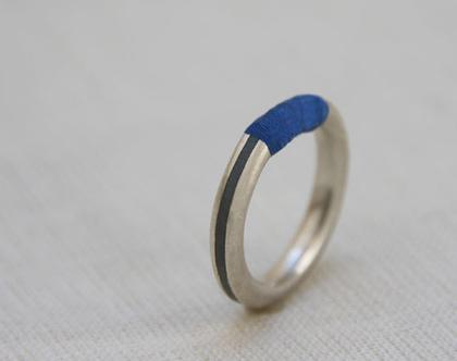טבעת כסף ובטון | טבעת כסף מלופפת בחוט