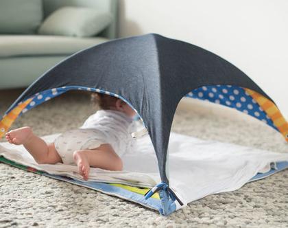 שמיכת תינוק רב שימושית,אוהל מבד לתינוק , סינר הנקה , כיסוי לעגלה - ורוד נקודות