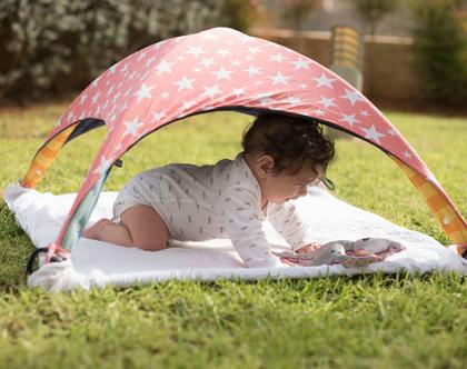 שמיכת קיץ לתינוק רב שימושית, אוהל מבד לתינוק, סינר הנקה, כיסוי לעגלה - ורוד נקודות