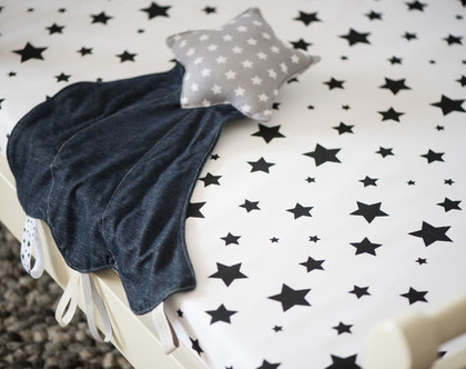 מתנת לידה שמיכי כוכב נופל - חפץ מעבר לתינוק ולילד כוכב אפור כוכבים